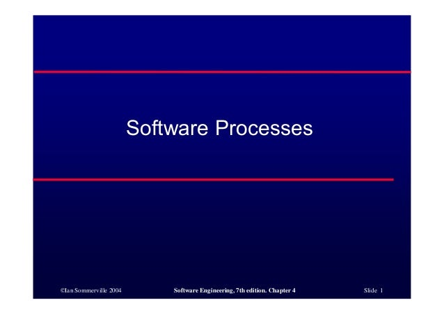 ©Ian Sommerville 2004 Software Engineering, 7th edition. Chapter 4 Slide 1 Software Processes