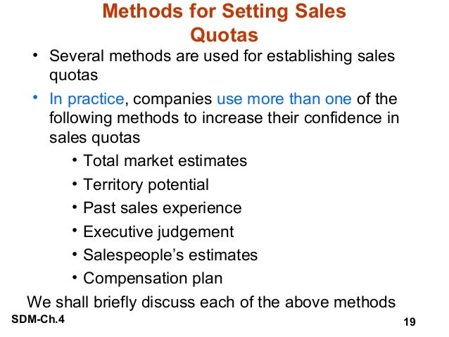 Management of Sales Territories and Quotas