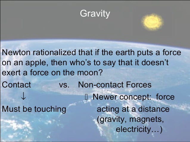 GravityNewton rationalized that if the earth puts a forceon an apple, then who's to say that it doesn'texert a force on th...
