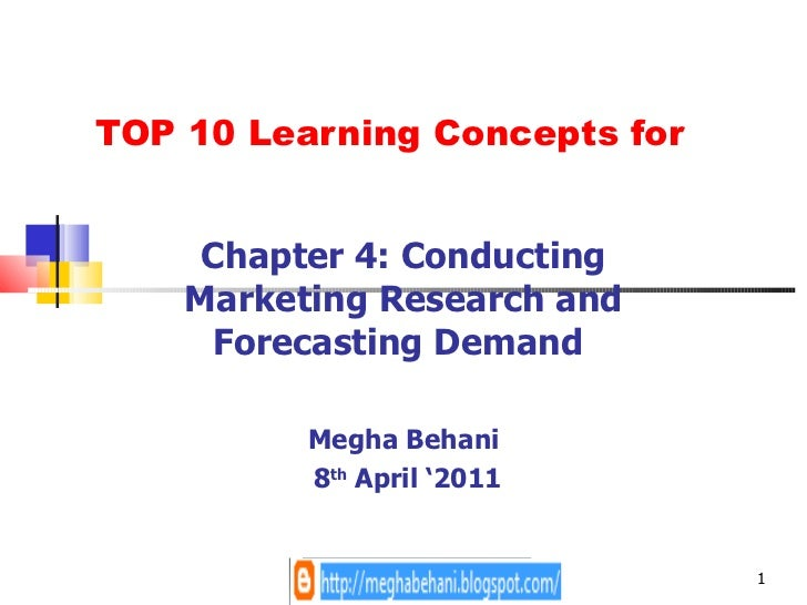 TOP 10 Learning Concepts for Chapter 4: Conducting Marketing Research and Forecasting Demand  Megha Behani 8 th  April '2011