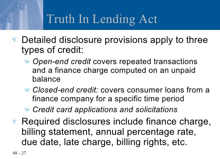 truth in lending act case essay Truth in lending act  federal law provides that you receive a federal truth in lending disclosure statement before consummating a consumer credit transaction it.