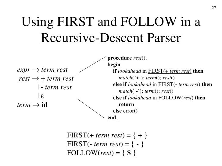 Building a Simple Recursive Descent Parser (continued)