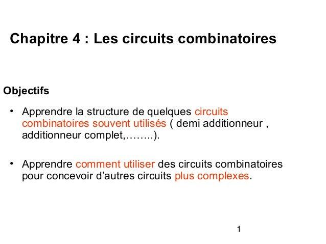 1 Objectifs • Apprendre la structure de quelques circuits combinatoires souvent utilisés ( demi additionneur , additionneu...