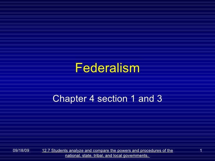 Federalism Chapter 4 section 1 and 3