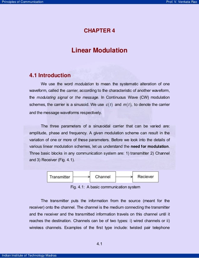 Principles of Communication  Prof. V. Venkata Rao  4  CHAPTER 4  Linear Modulation  4.1 Introduction We use the word modul...