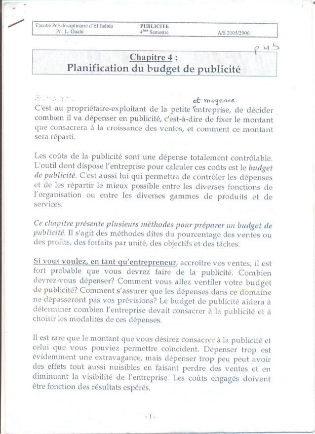 Ch4 planification du budget de publicité