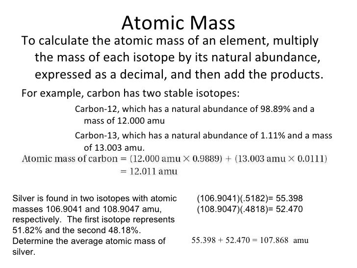 Ch 4 power point 08 09 – Calculating Atomic Mass Worksheet