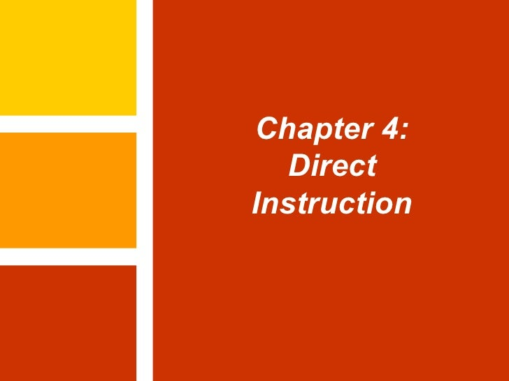 Chapter 4: Direct Instruction
