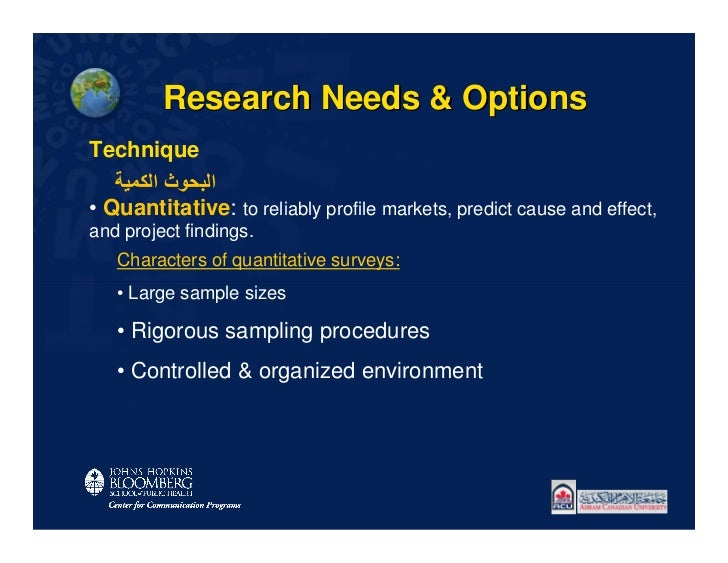 Research Needs & OptionsTechnique   اﻟﺒﺤﻮث اﻟﻜﻤﯿﺔ• Quantitative: to reliably profile markets, predict cause and effect,a...