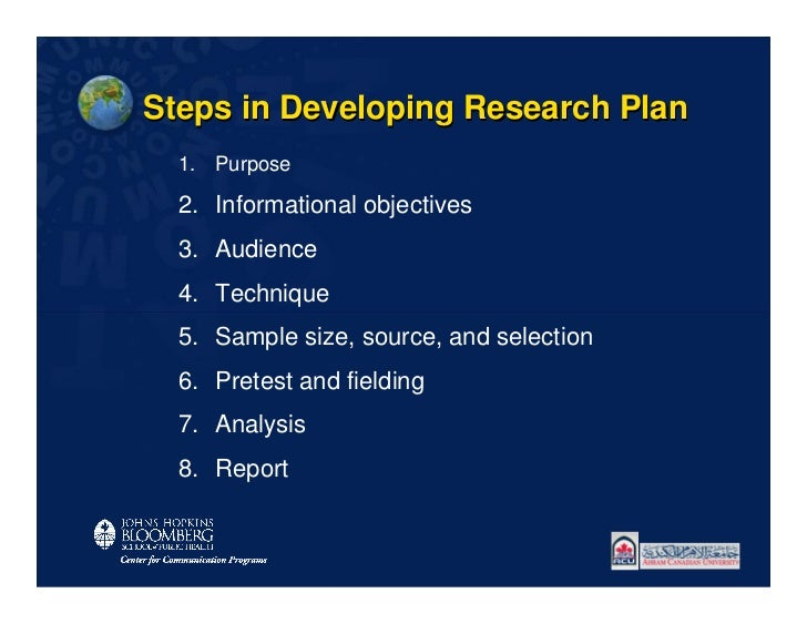 Steps in Developing Research Plan  1. Purpose  2. Informational objectives  3. Audience  4. Technique  5. Sample size, sou...