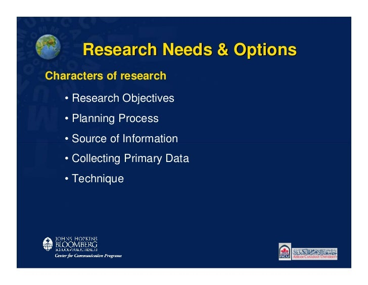 Research Needs & OptionsCharacters of research   • Research Objectives   • Planning Process   • Source of Information   • ...