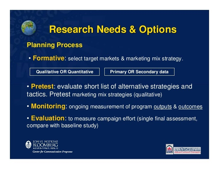 Research Needs & OptionsPlanning Process• Formative: select target markets & marketing mix strategy.   Qualitative OR Quan...