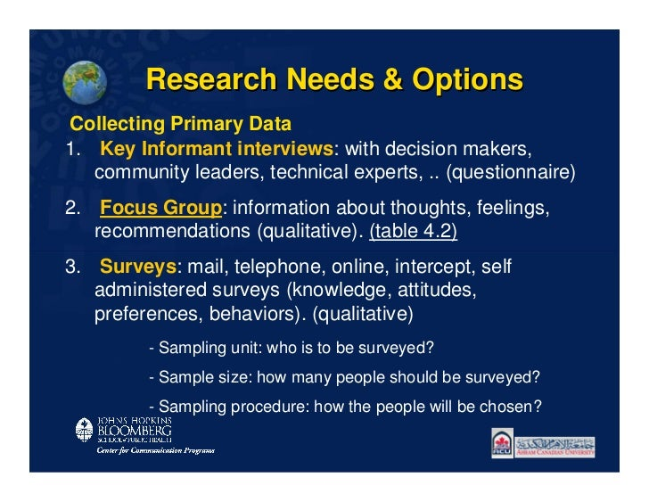 Research Needs & OptionsCollecting Primary Data1. Key Informant interviews: with decision makers,   community leaders, tec...
