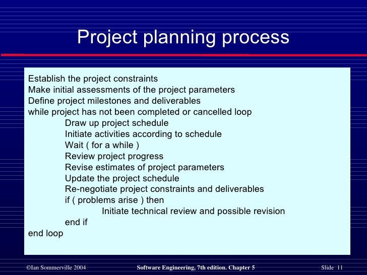 Project planning process Establish the project constraints  Make initial assessments of the project parameters  Define pro...