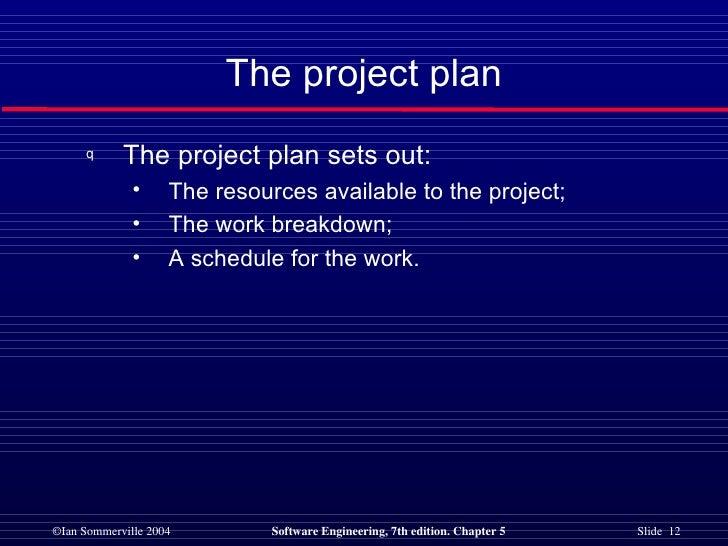 The project plan <ul><li>The project plan sets out: </li></ul><ul><ul><li>The resources available to the project; </li></u...