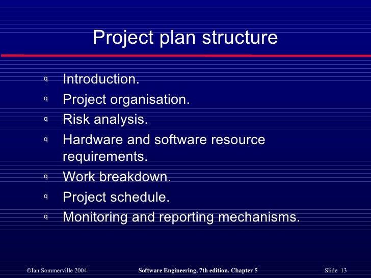 Project plan structure <ul><li>Introduction. </li></ul><ul><li>Project organisation. </li></ul><ul><li>Risk analysis. </li...