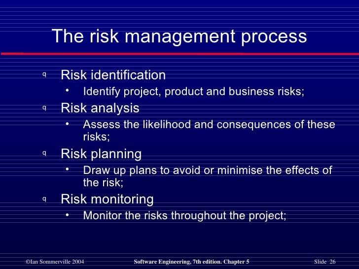 The risk management process <ul><li>Risk identification </li></ul><ul><ul><li>Identify project, product and business risks...