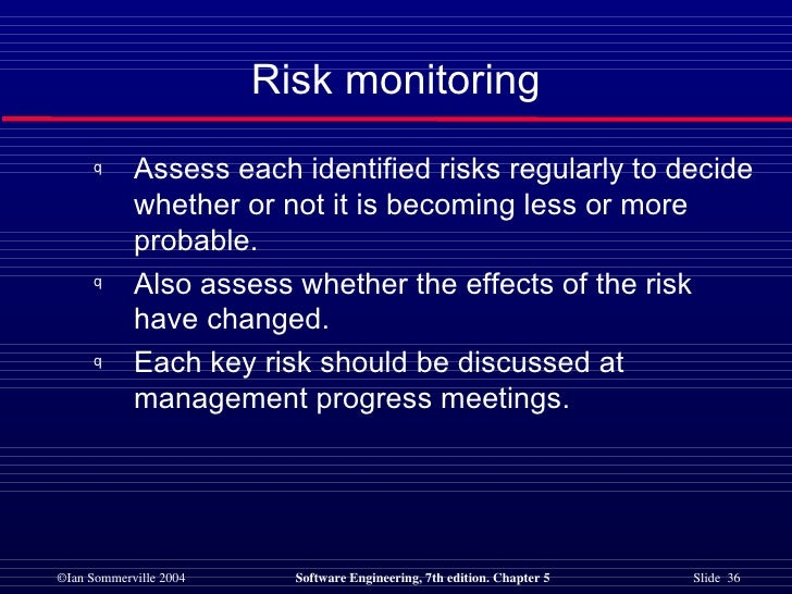 Risk monitoring <ul><li>Assess each identified risks regularly to decide whether or not it is becoming less or more probab...