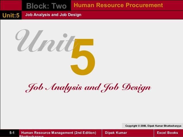 Block: Two Human Resource ProcurementUnit:5     Job Analysis and Job Design   Unit                                 5      ...