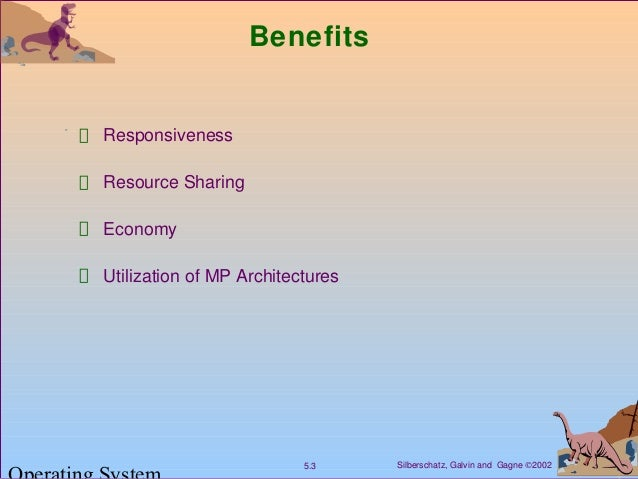 Silberschatz, Galvin and Gagne ©20025.3 Benefits Responsiveness Resource Sharing Economy Utilization of MP Architectures
