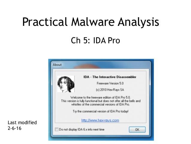 Practical Malware Analysis Ch 5: IDA Pro Last modified 2-6-16
