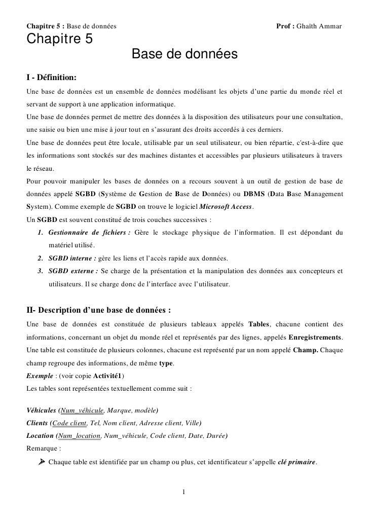 Chapitre 5 : Base de données                                                          Prof : Ghaïth AmmarChapitre 5       ...