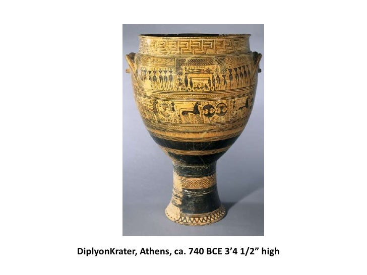 """DiplyonKrater, Athens, ca. 740 BCE 3'4 1/2"""" high<br />"""