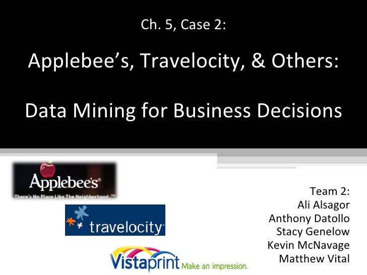 Ch. 5, Case 2:   Applebee's, Travelocity, & Others:   Data Mining for Business Decisions Team 2: Ali Alsagor Anthony Datol...