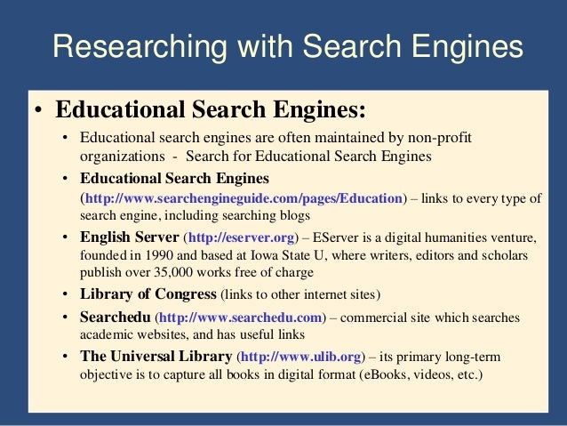 reliable search engines for research papers Google scholar will produce a list of journal articles, pdfs, and websites focusing on much more credible and scholarly sources appropriate for a research paper refseek - this resource is a search engine designed for students and researchers it searches online sources but produces more scholarly sites than a standard.