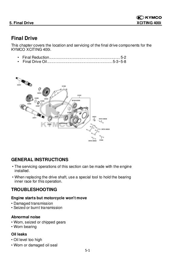 5. Final Drive  XCITING 400i    Final Drive This chapter covers the location and servicing of the final drive components ...