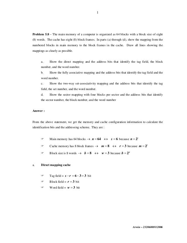 computer architecture tutorial question answer solution