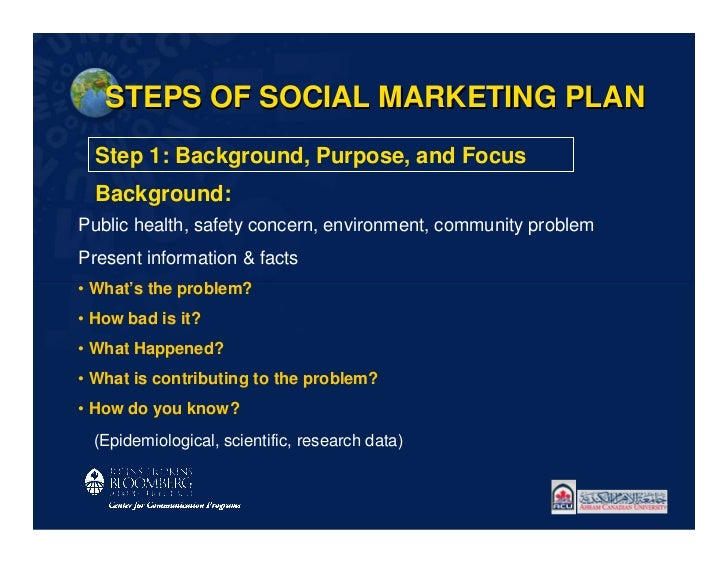 STEPS OF SOCIAL MARKETING PLAN  Step 1: Background, Purpose, and Focus  Background:Public health, safety concern, environm...