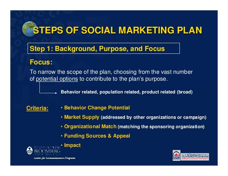 STEPS OF SOCIAL MARKETING PLAN Step 1: Background, Purpose, and Focus Focus: To narrow the scope of the plan, choosing fro...
