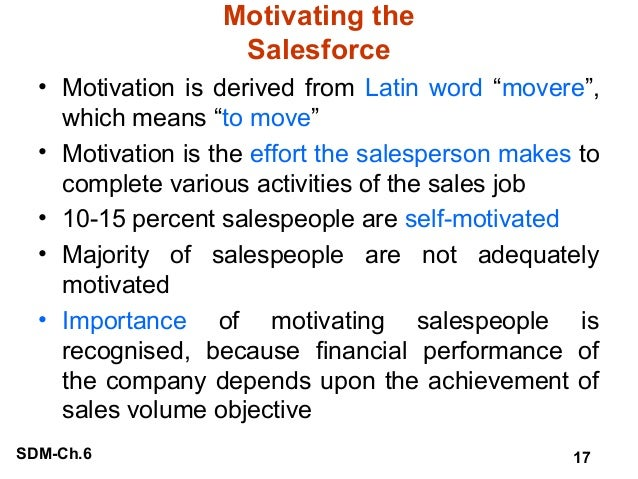 training  motivating  compensating  and leading the salesforce