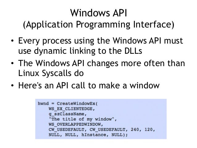 Windows API (Application Programming Interface) • Every process using the Windows API must use dynamic linking to the DLL...