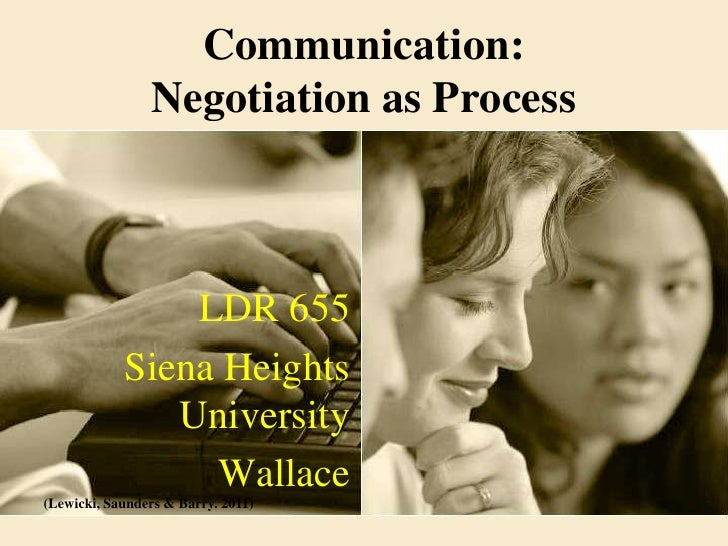 Communication:                Negotiation as Process                LDR 655            Siena Heights               Univers...