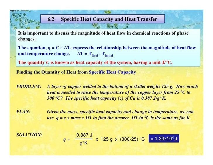 Specific Heat Chart Chemistry Thermochemistry