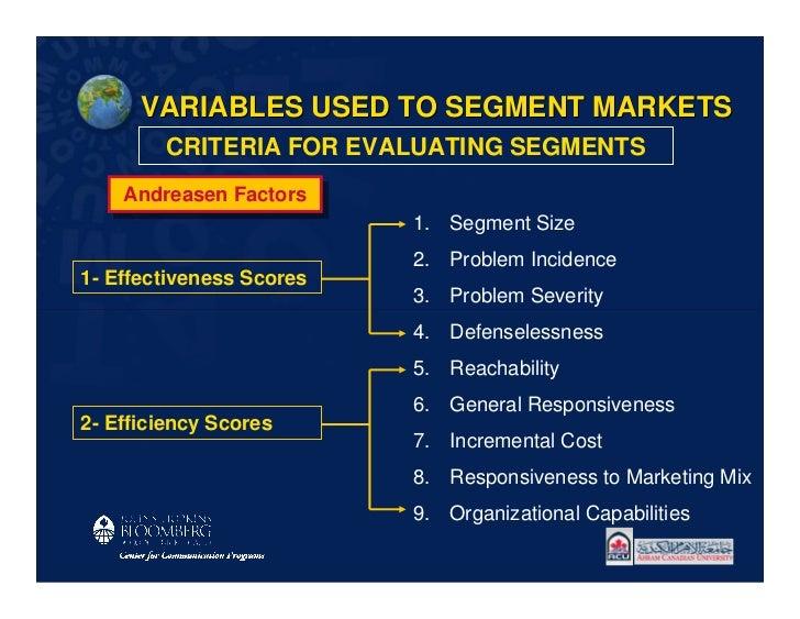 VARIABLES USED TO SEGMENT MARKETS        CRITERIA FOR EVALUATING SEGMENTS    Andreasen Factors    Andreasen Factors       ...