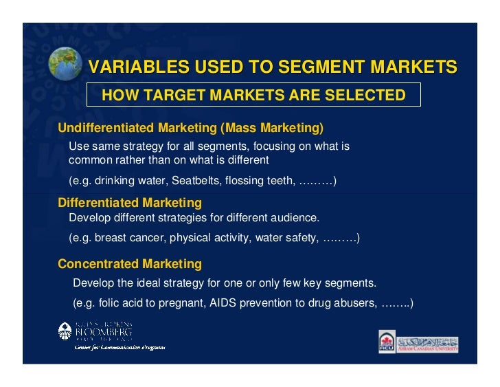 VARIABLES USED TO SEGMENT MARKETS       HOW TARGET MARKETS ARE SELECTEDUndifferentiated Marketing (Mass Marketing) Use sam...
