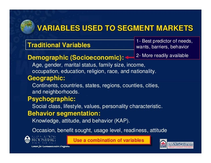 VARIABLES USED TO SEGMENT MARKETS                                                1- Best predictor of needs,Traditional Va...