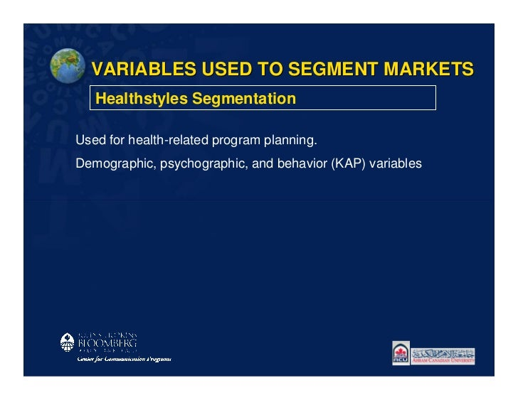 VARIABLES USED TO SEGMENT MARKETS   Healthstyles SegmentationUsed for health-related program planning.Demographic, psychog...