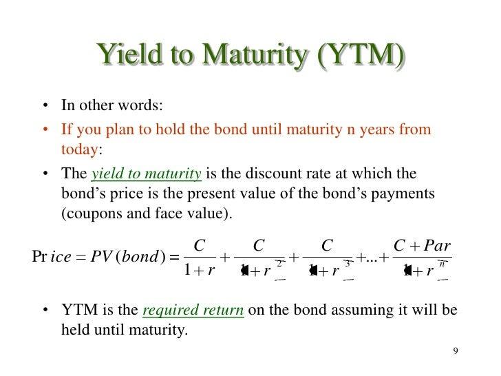 bond coupon yield to maturity