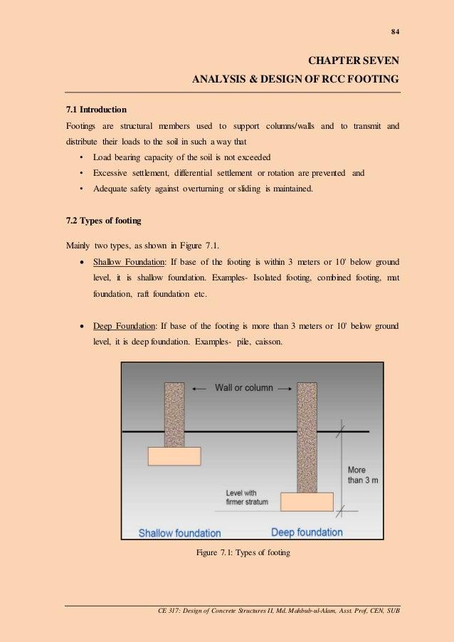 Ch 7 Design Of Rcc Footing