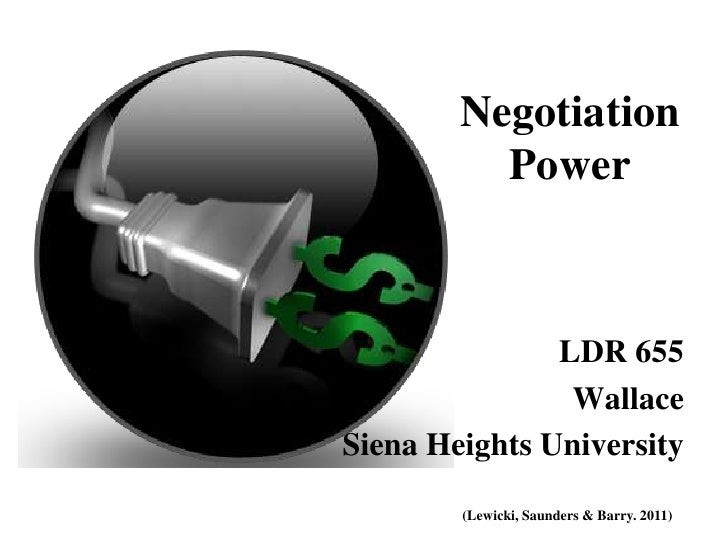 Negotiation          Power               LDR 655                WallaceSiena Heights University        (Lewicki, Saunders ...