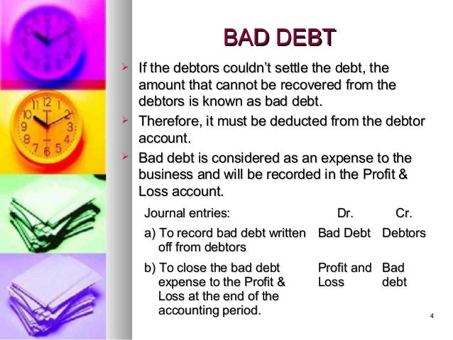 bad debts and provision for doubtful debt Bad debts account has been transferred to the profit and loss account because there is no existing provision for doubtful debts the provision now created is meant for meeting bad debts to be written off in the next year.