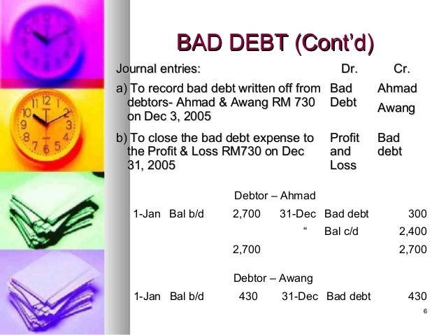Ch 7 bad debts