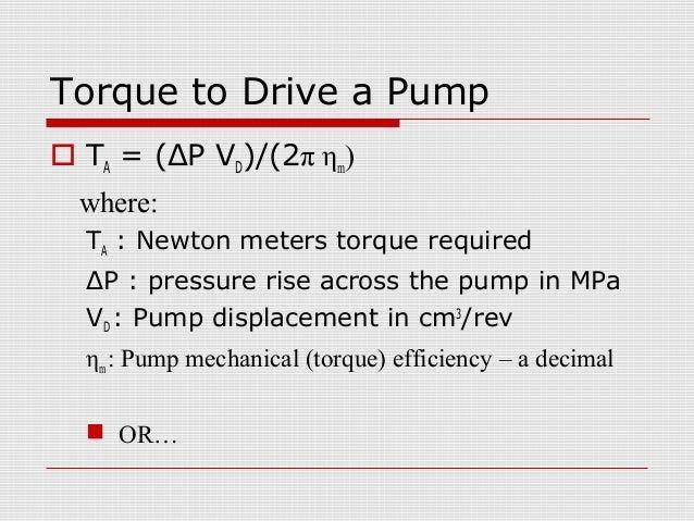 hydraulic motor torque formula