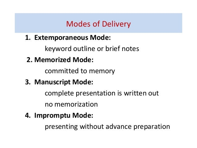 Ch7 delivering speeches (modes of delivery) Slide 3