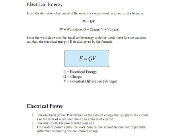 Equations Of Electricity