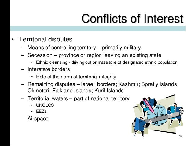 Conflicts of Interest • Territorial disputes – Means of controlling territory – primarily military – Secession – province ...